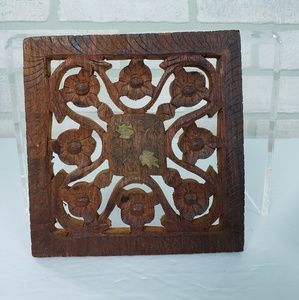 Other - Rustic Wooden Cut/Carved Trivet Brown 6""
